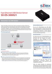 Silex Technology Network USB server LAN (10/100 Mbps), USB 2.0 SX-DS-3000U1 Data Sheet