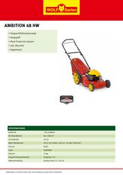 WOLF-Garten Ambition 48 HW 11A-118R650 Leaflet