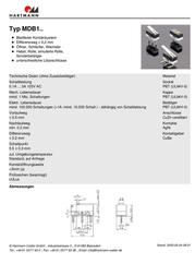 Hartmann Microswitch 125 Vac 3 A 1 x On/(On) MDB105C01C03D momentary 1 pc(s) MDB1 05C01C03D Data Sheet
