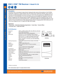 Williams Sound One 2 One R1-216 User Manual