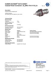 Huber + Suhner BNC connector Socket, vertical vertical 75 Ω Huber & Suhner 22_BNC-75-0-1/133_NE 1 pc(s) 22540883 Data Sheet