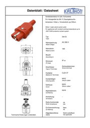 Kalthoff Hot wire connector Socket, straight Total number of pins: 2 + PE 16 A Red 1 pc(s) 344001 Data Sheet