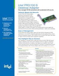 Intel PRO/100 S PILA8460C3BLK-PAK20 Leaflet