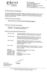 Pico PicoLog® 1216 0 - 2.5 Vdc USB Multi-channel voltage data logger PP547 Data Sheet