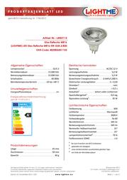 LIGHTME LED (monochrome) 45 mm 12 V GU5.3 5 W = 35 W Warm white ATT.CALC.EEK: A+ Reflector bulb Content 1 pc(s) LM85113 Data Sheet