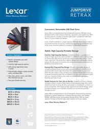 Lexar 8GB JumpDrive Retrax LJDRX8GBASBEU Leaflet