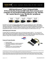 GoldX PlusSeries® QuickConnect® Hi-Speed USB 5 in 1 Cable Kit 6' GXQU-06 Leaflet