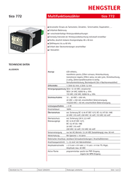 Hengstler tico 772 Multifunctional counter tico 772 24 V/AC 1R Assembly dimensions 45 x 45 mm 0772111 Data Sheet