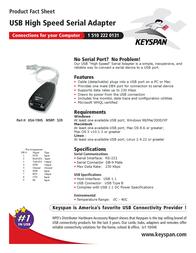 Keyspan High Speed USB Serial Adapter USA-19HS Leaflet