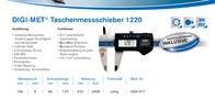 Helios Preisser DIGI-MET® Pocket sliding calliper 1220 417 Reading range(s) 150 mm 1220 417 Data Sheet