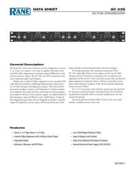 Rane Music Mixer AC 23S Data Sheet