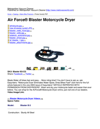 Metropolitan Vacuum Cleaner Company Blaster B3-CD B3-CD User Manual