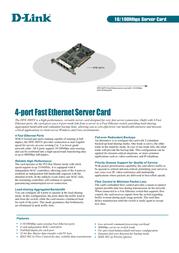 D-Link 4 Port Nway 32 Bit PCI Server Adapter with Port Trunking. D-Link Chipset DFE-580TX Leaflet
