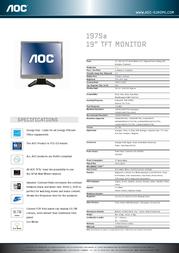 """AOC 19"""" 197SA-1 TFT Monitor 197SA-1 Leaflet"""