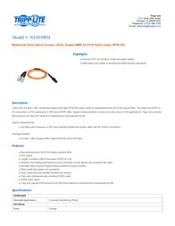 Tripp Lite Multimode Fiber Optics 8-m (25-ft.) Duplex MMF 62.5/125 Patch Cable, MTRJ/SC N310-08M Leaflet