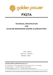 Golden Power Camera battery PX27A Alkali-manganese PX27A 145 mAh 6 V 1 pc(s) 111157 Data Sheet