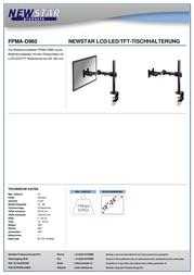 "Newstar Products Monitor desk mount 10"" - 27"" Swivelling/tiltable, Swivelling FPMA-D960 Data Sheet"