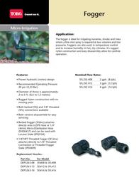Toro Foggers Data Sheet