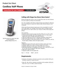 Keyspan Cordless VOIP Phone VP-24A Leaflet