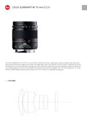 Leica Summarit-M 75mm f/2.5 11645 User Manual