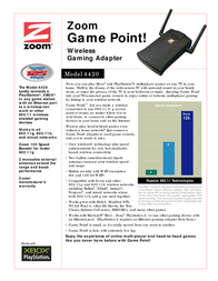 Hayes Game Point! Wireless-G Gaming Adapter 4420-72-00 Leaflet