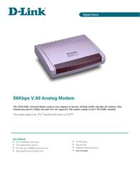 D-Link Modem EN 56K ext W9x Voice-Fax LNX DFM-560E+ Leaflet
