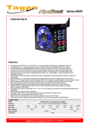 Tagan TG600-BZ PipeRock 600W TG600-BZ NEW Leaflet