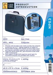 """Case Logic EVA Shuttle Bag For Laptops 17"""" NPE3 Leaflet"""