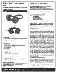 Koss HB70 Leaflet