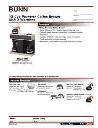 Bunn Pourover Coffee Brewer VPS Leaflet