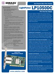 Emulex Dual Channel 2Gb/s Fibre Channel PCI-X Host Bus Adapter LP1050DC-F2 LP1050DC-F2 Leaflet