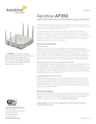 Aerohive AP-350 AH-AP-350-N-W Data Sheet