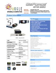 Sparkle Technology GeForce GTS250 512MB SXS250512D3L-NM Leaflet