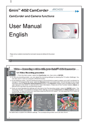Archos Gmini 402 Camcorder 500706 User Manual