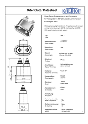 Kalthoff Hot wire connector Plug, vertical mount Total number of pins: 2 + PE 16 A Metal 1 pc(s) 810007 Data Sheet