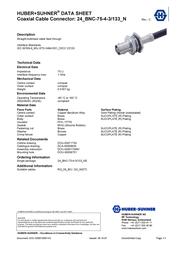 Huber + Suhner BNC connector Socket, vertical vertical 75 Ω Huber & Suhner 24_BNC-75-4-3-/133_NE 1 pc(s) 22540930 Data Sheet