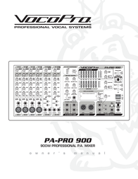 Vocopro Music Mixer PA-PRO 900 User Manual