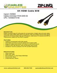 Cables Unlimited HDMI V1.3b A/V 25 ft PCM-2295-25 Leaflet