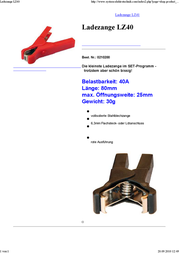 Set ® 0210200 LZ40 40 A Jump Lead Clamp 6.3 mm spade connector or solder connection 40 A Red 0210200 Data Sheet