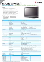 """Tatung 37"""" PAL/DVB-T Hybrid SoC Packed iDTV V37MCGI-ED1 Leaflet"""