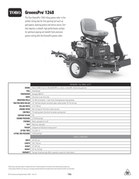 Toro GreensPro 1240 Specification Guide