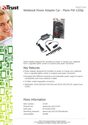 Trust Notebook Power Adapter Car - Plane PW-1200p 14129 Leaflet
