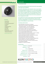 iRobot Roomba 650 R650020 Data Sheet