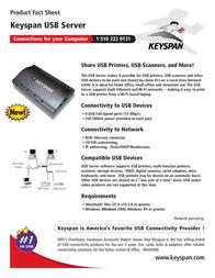 Keyspan USB Server KY-USB/SERV Leaflet