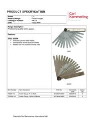Ck C.K Feeler Gauge Metric 13 Blade C.K. T3525M 413 T3525M 413 Data Sheet