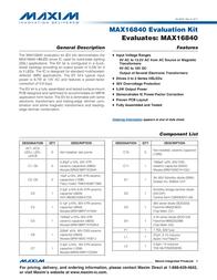 Maxim Integrated MAX16840 Evaluation Kit MAX16840EVKIT# MAX16840EVKIT# Data Sheet