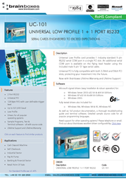 Brainboxes Universal Low Profile 2-Port RS232 PCI Card UC-101F User Manual