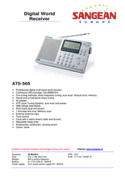 Sangean ATS-505 Digital World Receiver ATS-505 Leaflet