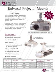 "Premier Mounts Universal Projector Mount with 1-1/2"" Coupler (PBC-UMS) PBC-UMS Leaflet"