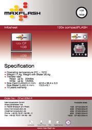 MaxFlash Compact Flash Card 2 GB CF2G120M-R Leaflet